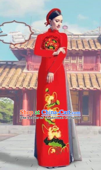 Traditional Top Grade Asian Vietnamese Costumes Dance Dress, Vietnam National Female Printing Lotus Red Ao Dai Dress Cheongsam Clothing Complete Set for Women