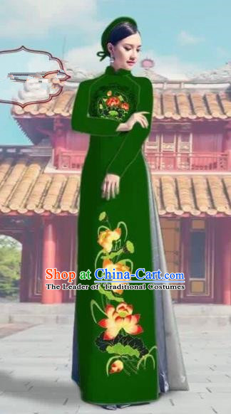 Traditional Top Grade Asian Vietnamese Costumes Dance Dress, Vietnam National Female Printing Lotus Green Ao Dai Dress Cheongsam Clothing Complete Set for Women