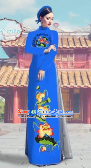 Traditional Top Grade Asian Vietnamese Costumes Dance Dress, Vietnam National Female Printing Lotus Blue Ao Dai Dress Cheongsam Clothing Complete Set for Women