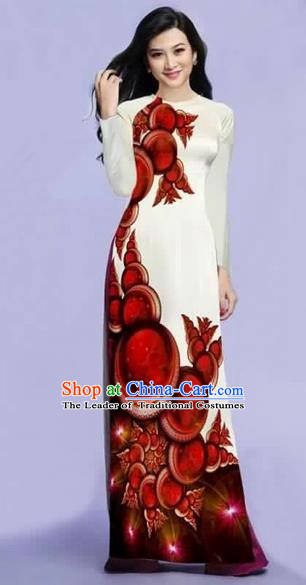 Traditional Top Grade Asian Vietnamese Costumes Dance Dress, Vietnam National Female Red Printing Ao Dai Dress Cheongsam Clothing for Women