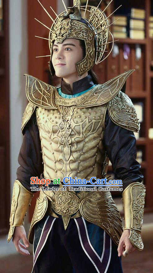 Traditional Chinese Ancient Tang Dynasty General Helmet and Armour Complete Set, Fighter of the Destiny Ancient Soldier Corselet Clothing for Men