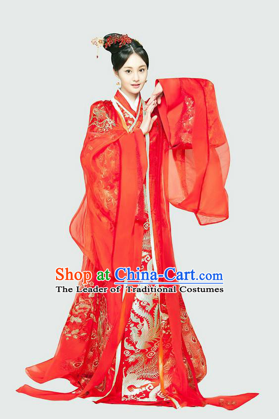 Traditional Chinese Ancient Tang Dynasty Bride Costumes and Handmade Headpiece Complete Set, China Ancient Peri Princess Wedding Dress Clothing for Women