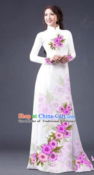 Traditional Top Grade Asian Vietnamese Costumes Dance Dress, Vietnam National Female Painting Flowers White Ao Dai Dress Cheongsam Clothing for Women