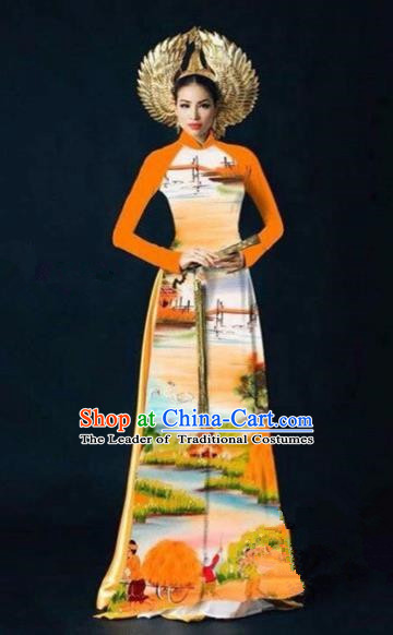 Traditional Top Grade Asian Vietnamese Costumes Dance Dress, Vietnam National Women Ao Dai Dress Printing Landscape Orange Cheongsam Clothing