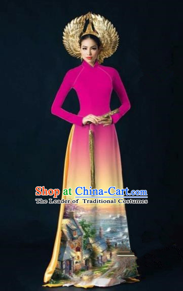 Traditional Top Grade Asian Vietnamese Costumes Dance Dress, Vietnam National Women Ao Dai Dress Printing View Rose Cheongsam Clothing