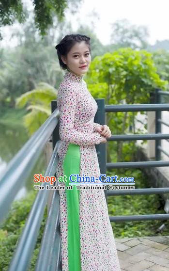 Traditional Top Grade Asian Vietnamese Costumes Dance Dress and Loose Pants, Vietnam National Women Ao Dai Dress Cheongsam Clothing