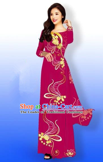 Traditional Top Grade Asian Vietnamese Costumes Dance Dress and Loose Pants, Vietnam National Women Ao Dai Dress Printing Long Cheongsam Clothing Complete Set