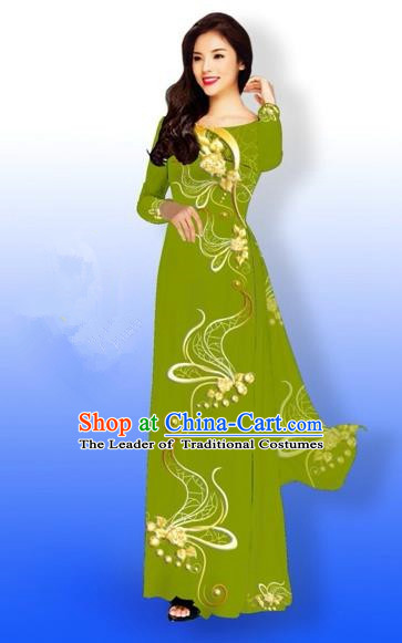 Traditional Top Grade Asian Vietnamese Costumes Dance Dress and Loose Pants, Vietnam National Women Ao Dai Dress Printing Long Olive Green Cheongsam Clothing Complete Set