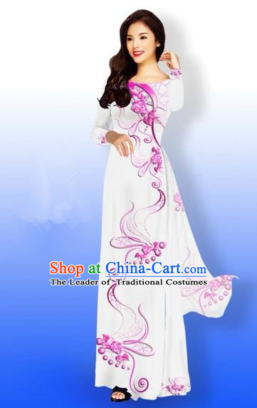 Traditional Top Grade Asian Vietnamese Costumes Dance Dress and Loose Pants, Vietnam National Women Ao Dai Dress Printing Long White Cheongsam Clothing Complete Set