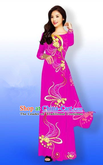 Traditional Top Grade Asian Vietnamese Costumes Dance Dress and Loose Pants, Vietnam National Women Ao Dai Dress Printing Long Rose Cheongsam Clothing Complete Set