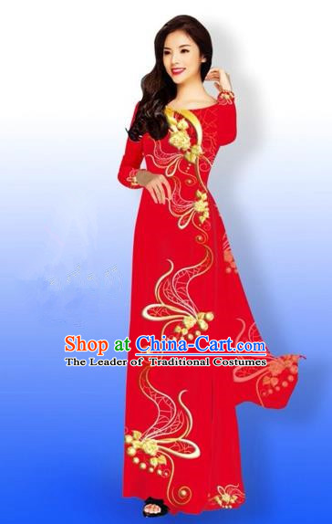 Traditional Top Grade Asian Vietnamese Costumes Dance Dress and Loose Pants, Vietnam National Women Ao Dai Dress Printing Long Red Cheongsam Clothing Complete Set
