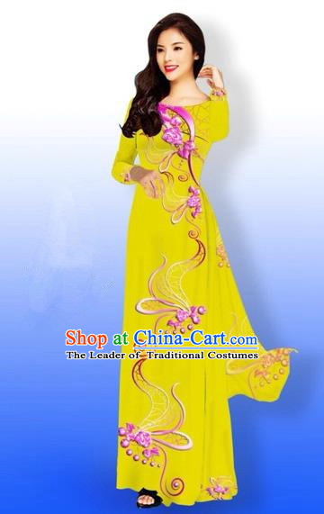 Traditional Top Grade Asian Vietnamese Costumes Dance Dress and Loose Pants, Vietnam National Women Ao Dai Dress Printing Long Yellow Cheongsam Clothing Complete Set
