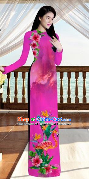 Traditional Top Grade Asian Vietnamese Costumes, Vietnam National Ao Dai Dress Printing Flowers Crane Rose Qipao for Women