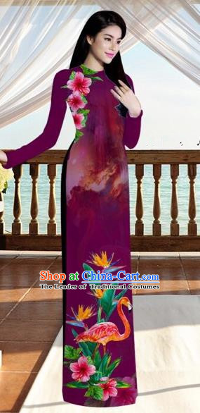 Traditional Top Grade Asian Vietnamese Costumes, Vietnam National Ao Dai Dress Printing Flowers Crane Amaranth Qipao for Women