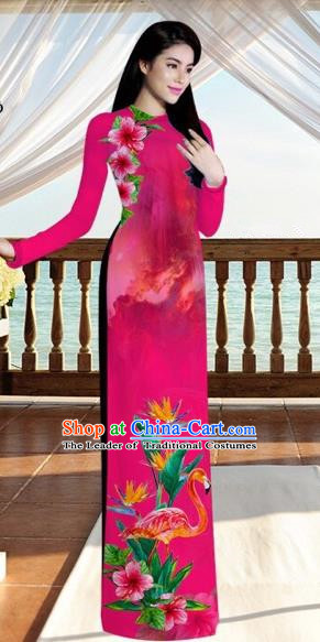 Traditional Top Grade Asian Vietnamese Costumes, Vietnam National Ao Dai Dress Printing Flowers Crane Pink Qipao for Women