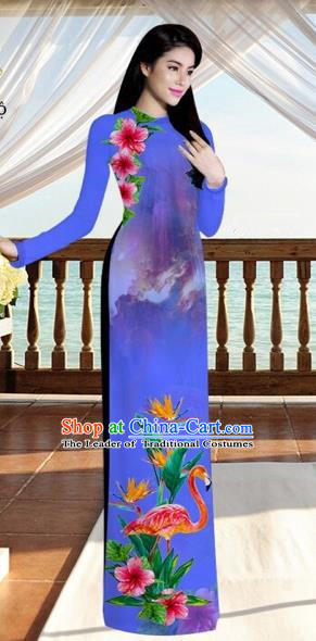 Traditional Top Grade Asian Vietnamese Costumes, Vietnam National Ao Dai Dress Printing Flowers Crane Bluish Violet Qipao for Women