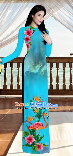 Traditional Top Grade Asian Vietnamese Costumes, Vietnam National Ao Dai Dress Printing Flowers Crane Peacock Blue Qipao for Women