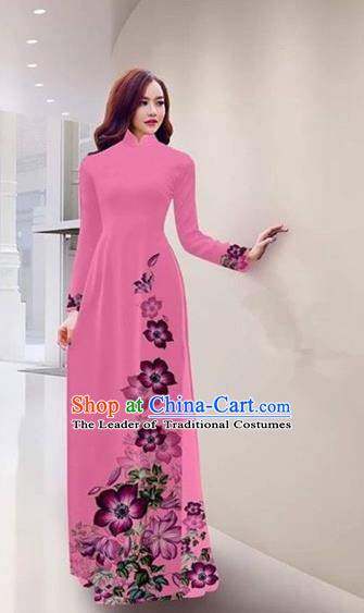Traditional Top Grade Asian Vietnamese Costumes Handmade Printing Pink Full Dress, Vietnam National Ao Dai Dress Qipao for Women