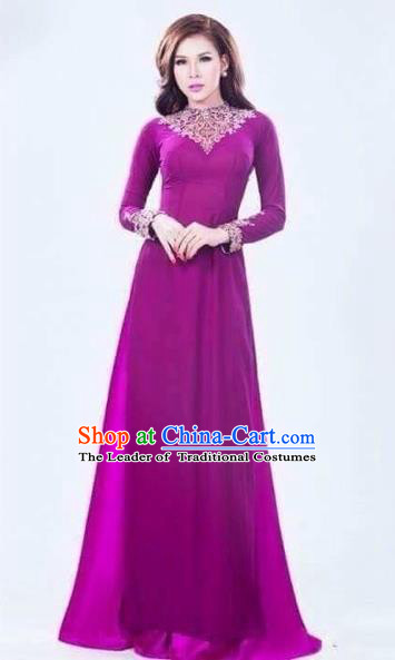 Traditional Top Grade Asian Vietnamese Costumes Classical Handmade Purple Full Dress and Pants, Vietnam National Ao Dai Dress Etiquette Qipao for Women