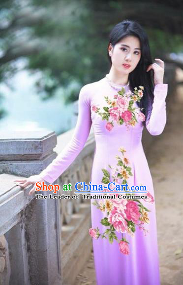 Traditional Top Grade Asian Vietnamese Costumes Classical Printing Pink Flowers Full Dress, Vietnam National Ao Dai Dress Etiquette Qipao for Women