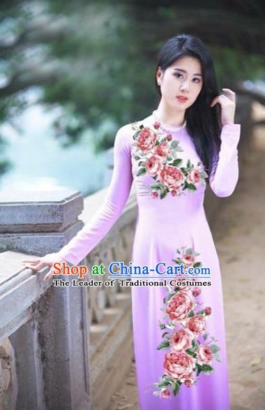Traditional Top Grade Asian Vietnamese Costumes Classical Printing Flowers Full Dress, Vietnam National Ao Dai Dress Etiquette Qipao for Women