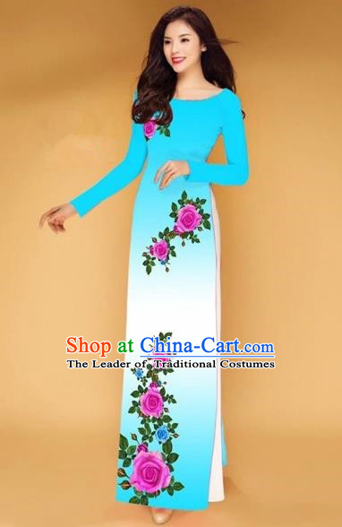 Traditional Top Grade Asian Vietnamese Costumes Classical Printing Rose Flowers Full Dress, Vietnam National Ao Dai Dress Sky Blue Etiquette Qipao for Women