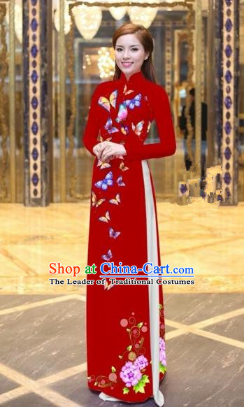 Traditional Top Grade Asian Vietnamese Costumes Classical Printing Butterfly Pattern Full Dress, Vietnam National Ao Dai Dress Red Etiquette Qipao for Women