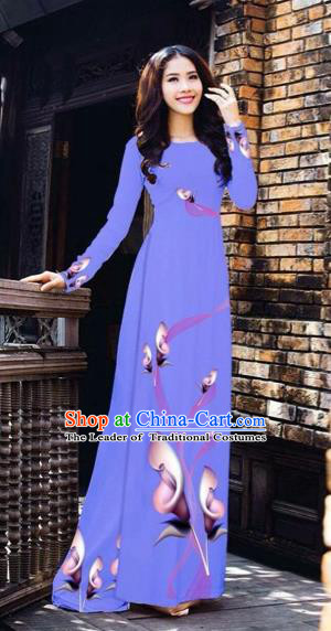 Traditional Top Grade Asian Vietnamese Costumes Classical Printing Flowers Pattern Full Dress, Vietnam National Ao Dai Dress Lilac Etiquette Qipao for Women