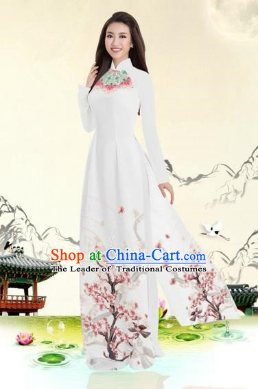 Traditional Top Grade Asian Vietnamese Costumes Classical Plum Blossom Pattern Full Dress, Vietnam National Ao Dai Dress White Etiquette Qipao for Women