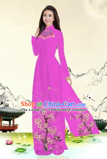 Traditional Top Grade Asian Vietnamese Costumes Classical Plum Blossom Pattern Full Dress, Vietnam National Ao Dai Dress Rosy Etiquette Qipao for Women