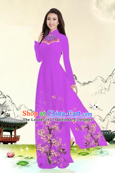 Traditional Top Grade Asian Vietnamese Costumes Classical Plum Blossom Pattern Full Dress, Vietnam National Ao Dai Dress Violet Etiquette Qipao for Women
