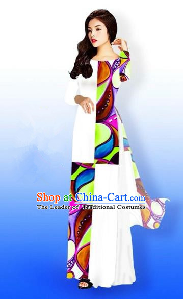 Traditional Top Grade Asian Vietnamese Costumes Classical Printing Full Dress, Vietnam National Ao Dai Dress Bride White Qipao for Women