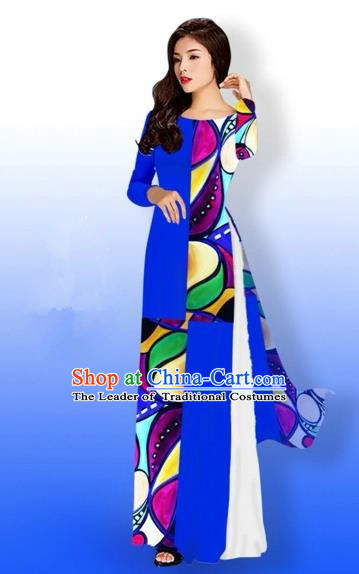 Traditional Top Grade Asian Vietnamese Costumes Classical Printing Full Dress, Vietnam National Ao Dai Dress Bride Royalblue Qipao for Women