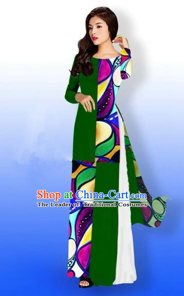 Traditional Top Grade Asian Vietnamese Costumes Classical Printing Full Dress, Vietnam National Ao Dai Dress Bride Green Qipao for Women