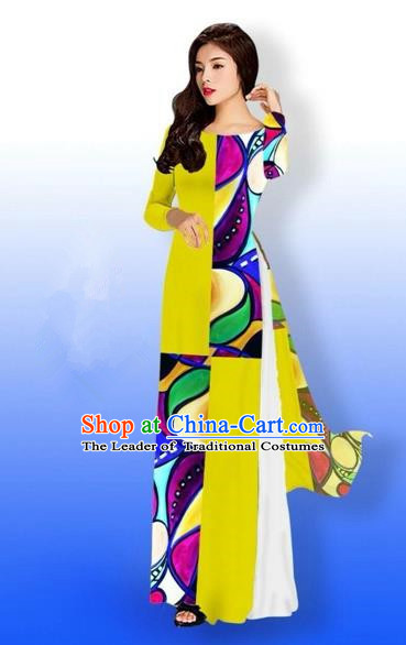Traditional Top Grade Asian Vietnamese Costumes Classical Printing Full Dress, Vietnam National Ao Dai Dress Bride Yellow Qipao for Women