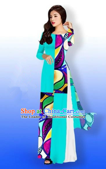 Traditional Top Grade Asian Vietnamese Costumes Classical Printing Full Dress, Vietnam National Ao Dai Dress Bride Blue Qipao for Women