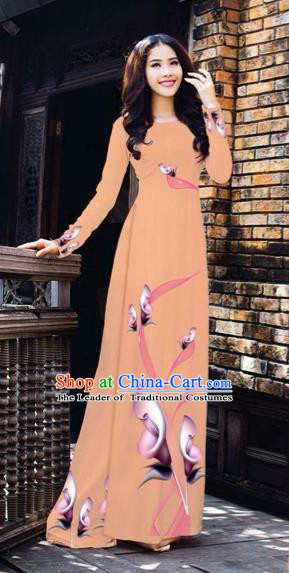 Traditional Top Grade Asian Vietnamese Costumes Classical Printing Flowers Pattern Full Dress, Vietnam National Ao Dai Dress Nude Pink Etiquette Qipao for Women