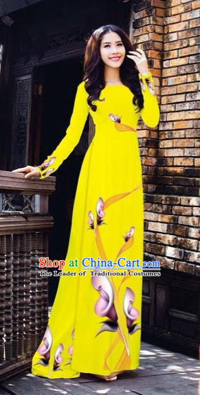 Traditional Top Grade Asian Vietnamese Costumes Classical Printing Flowers Pattern Full Dress, Vietnam National Ao Dai Dress Yellow Etiquette Qipao for Women