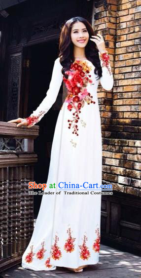Traditional Top Grade Asian Vietnamese Costumes Dance Dress, Vietnam National Women Ao Dai Dress Printing Red Flowers Cheongsam Clothing
