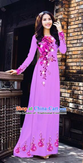 Traditional Top Grade Asian Vietnamese Costumes Dance Dress, Vietnam National Women Ao Dai Dress Printing Flowers Purple Cheongsam Clothing