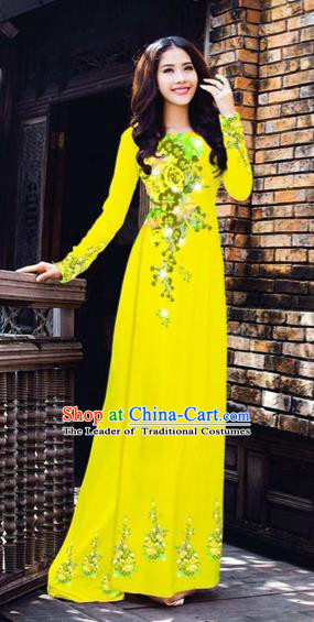 Traditional Top Grade Asian Vietnamese Costumes Dance Dress, Vietnam National Women Ao Dai Dress Printing Flowers Yellow Cheongsam Clothing