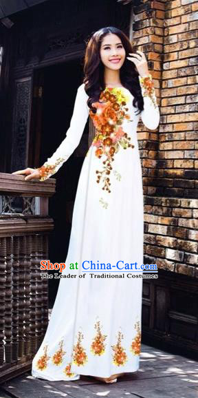 Traditional Top Grade Asian Vietnamese Costumes Dance Dress, Vietnam National Women Ao Dai Dress Printing Flowers White Cheongsam Clothing