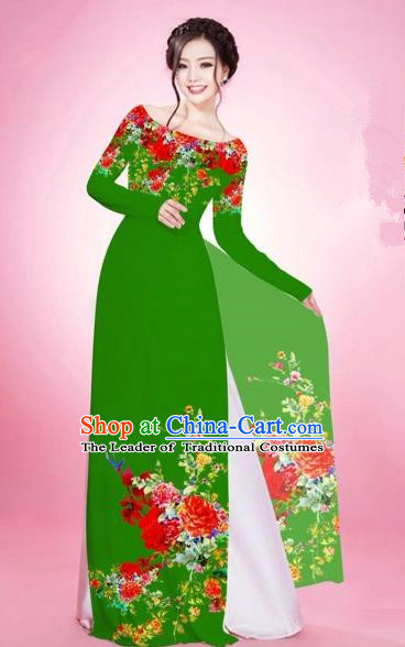 Traditional Top Grade Asian Vietnamese Costumes, Vietnam National Women Ao Dai Dress Embroidery Green Clothing