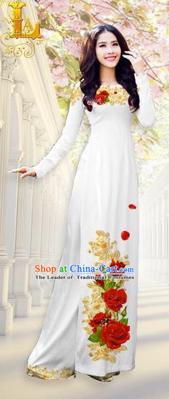 Traditional Top Grade Asian Vietnamese Costumes, Vietnam National Ao Dai Dress Printing Flowers White Qipao for Women