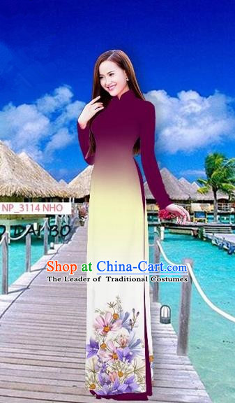Traditional Top Grade Asian Vietnamese Costumes Full Dress, Vietnam National Ao Dai Dress Printing Flowers Amaranth Stand Collar Qipao for Women