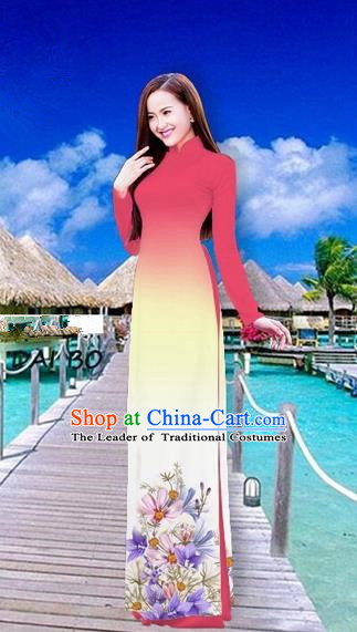 Traditional Top Grade Asian Vietnamese Costumes Full Dress, Vietnam National Ao Dai Dress Printing Flowers Watermelon Red Stand Collar Qipao for Women