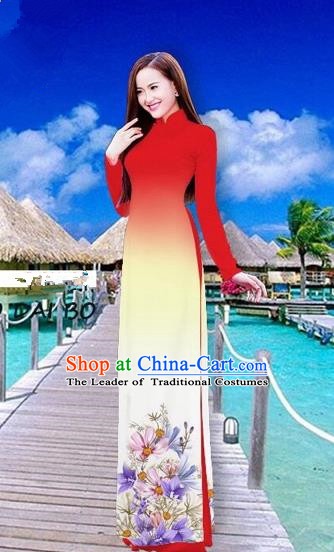 Traditional Top Grade Asian Vietnamese Costumes Full Dress, Vietnam National Ao Dai Dress Printing Flowers Red Stand Collar Qipao for Women