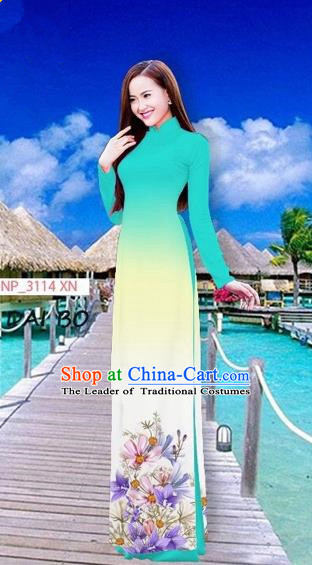 Traditional Top Grade Asian Vietnamese Costumes Full Dress, Vietnam National Ao Dai Dress Printing Flowers Blue Stand Collar Qipao for Women