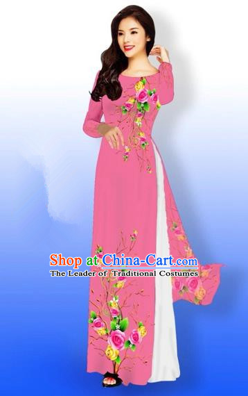 Traditional Top Grade Asian Vietnamese Costumes Full Dress, Vietnam National Ao Dai Dress Printing Rose Flowers Watermelon Red Qipao for Women