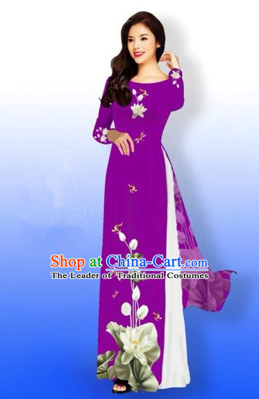 Traditional Top Grade Asian Vietnamese Costumes Full Dress, Vietnam National Ao Dai Dress Printing Flowers Round Collar Amaranth Qipao for Women